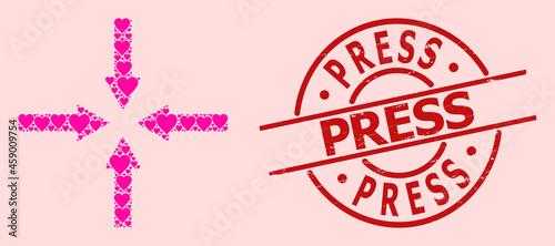 Fotografia, Obraz Grunge Press seal, and pink love heart collage for shrink arrows