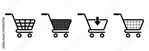 shopping cart icon set, shopping cart vector set, shopping basket icon vector Fotobehang