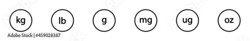 Fotografiet Conjunto de icono de peso kg, lb, g, mg, ug, oz