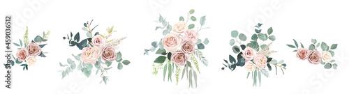 Fotografering Blush pink roses, ranunculus, camellia flowers vector design bouquets