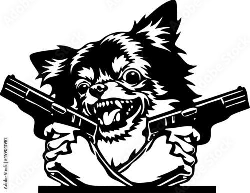Fotografie, Obraz Angry Chihuahua - bad dog with gun - vector stencil