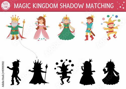Fototapeta Fairytale shadow matching activity with king, queen, prince, princess