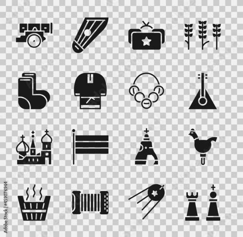Fotografiet Set Chess, Cockerel lollipop, Balalaika, Ushanka, Kosovorotka, Valenki, Cannon and Russian bagels icon