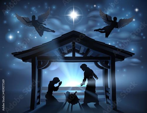Fotografia, Obraz Christmas Nativity Scene Jesus Manger Silhouette