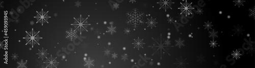 Foto Black abstract snowflakes Christmas banner design