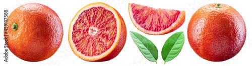 Canvastavla Set of red orange, orange slices and orange leaves