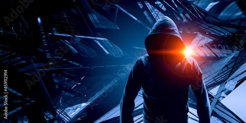 Fotografiet Silhouette of man in hoody