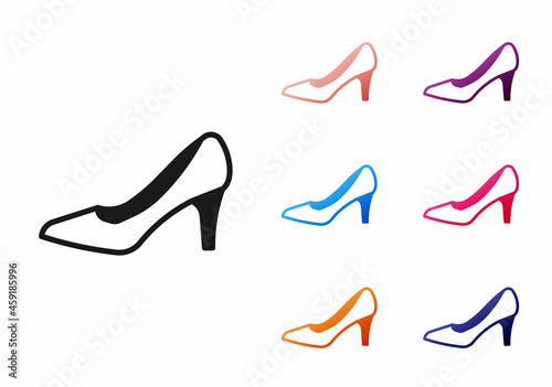 Obraz na plátně Black Woman shoe with high heel icon isolated on white background
