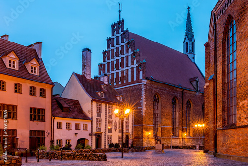 Night view on Evangelical Lutheran Church of Saint John the Baptist in old Riga, Fototapet