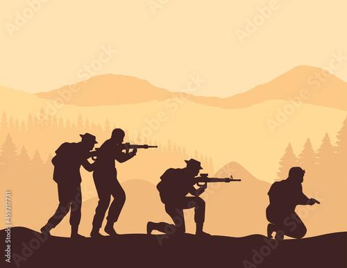 Obraz na plátně military squad silhouettes scene