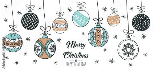 Fotografie, Tablou Set of hand drawn christmas baubles