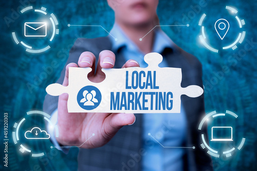 Fototapeta Hand writing sign Local Marketing