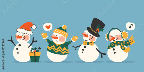 Tela Snowman character collection of snowman wear Santa hat, black hat with bow tie and winter outfits on light blue background
