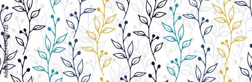 Fototapeta Berry bush branches natural vector seamless background