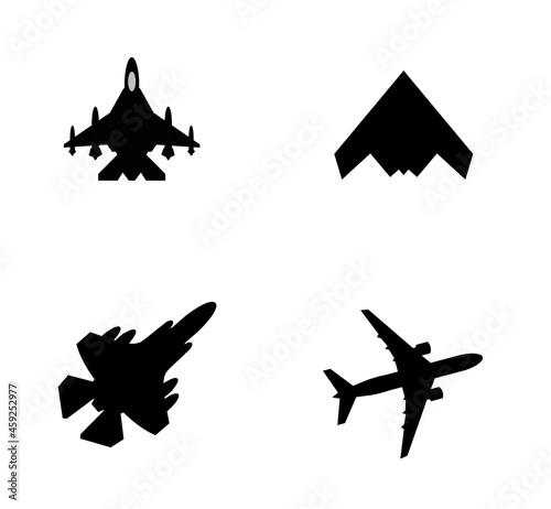 Fotografie, Obraz Avions de chasse et de transport en 4 icônes