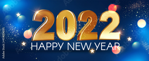Fotografie, Tablou Happy new 2022 year Elegant gold text with bokeh effect and fir tree branches