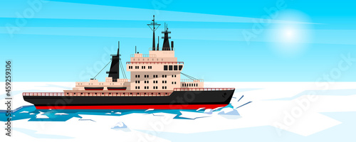 Fotografie, Obraz Icebreaker is shipping at Antarctic north pole breaking ice