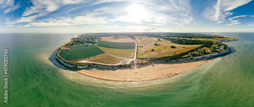 Foto Drone aerial view of the beach and white cliffs, Botany Bay, England, UK