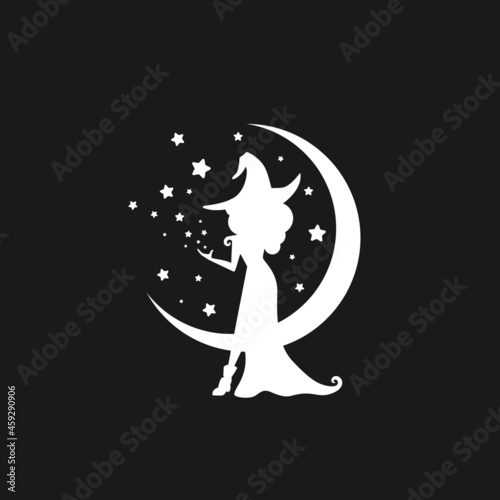 Obraz na plátne Black witch with stars and crescent in the night sky