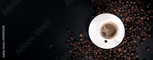Fotografia Cup of coffee on dark background