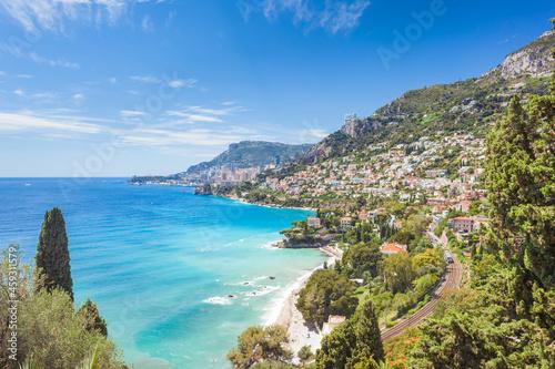 фотография View on Monaco Monte-Carlo from Roquebrune-Cap-Martin, Cote d'Azure, France