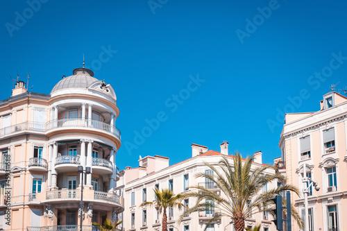 Fotografiet Elegant architecture in style Art Nouveau in Cannes on boulevard Carnot