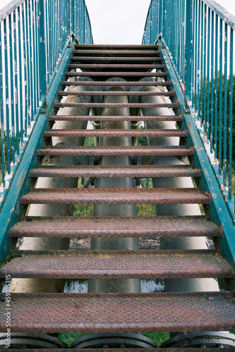 Fotografiet Metal stair case on public footbridge over the Bridgewater canal Worsley Manches