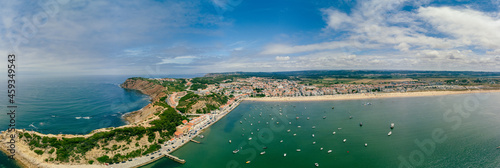 Obraz na plátně Aerial view over the village and bay of São Martinho do Porto, Portugal