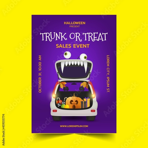Photo realistic trunk treat vertical poster template vector design illustration