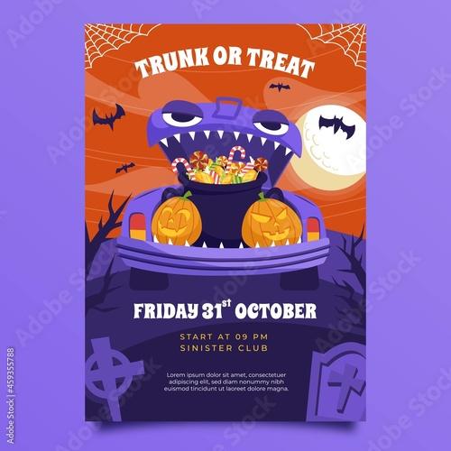 hand drawn flat trunk treat vertical poster template vector design illustration Fototapete