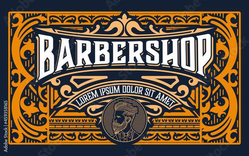 Fotografiet Vintage Barbershop label in vintage style