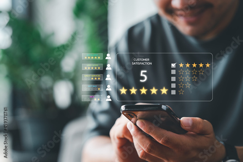 Obraz na plátně Customer review satisfaction feedback survey concept, User give rating to service experience on online application, Customer can evaluate quality of service leading to reputation ranking of business