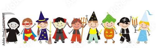Fotografiet Carnival, Halloween, nine children, girls and boys at masks, funny vector illust