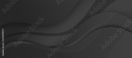 Canvastavla Abstract liquid black background with dynamic waves effect texture design 3D modern wave curve futuristic graphic poster, banner