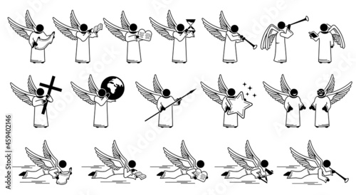 Leinwand Poster God angel holding carrying different objects stick figure  pictogram icons