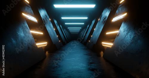 Fotografija 3d rendering dark metal corridor with blue and yellow neon light.