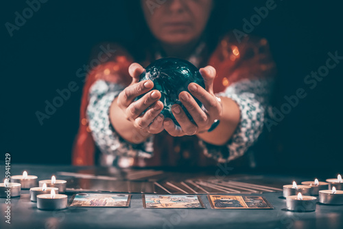 Wallpaper Mural Tarot reader with tarot cards
