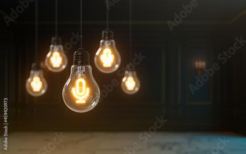 Billede på lærred 3d rendering microphone icon glow inside light bulb premium cover photo backgrou