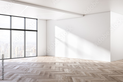 Canvas Modern interior with blank concrete walls, wooden flooring, window with city view and mock up place