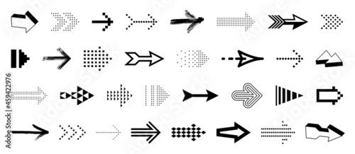 Billede på lærred Arrow symbols big set of different shapes styles and concepts, cursors for icons or logo creation, single color monochrome logotypes