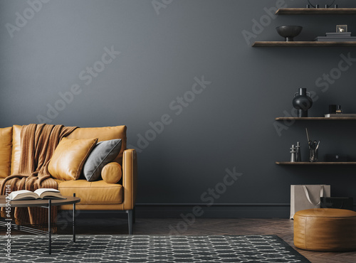 Black living room interior with leather sofa, minimalist industrial style, 3d render