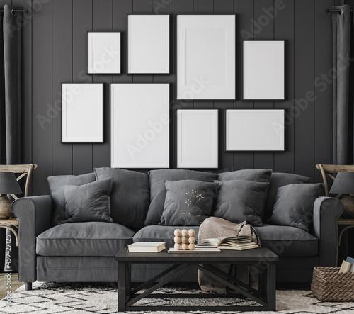 Frame mockup in black farmhouse living room interior, 3d render