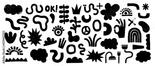 Canvas Big set of black hand painted various shapes, curls, forms