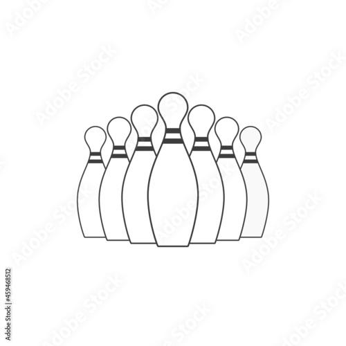 Bowling pin icon in flat style Fototapeta
