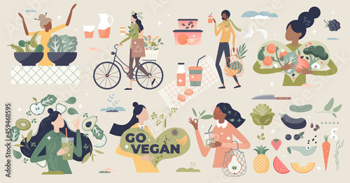 Vegan and natural, green diet eating lifestyle tiny person collection set. Avoid meat elements and animal products in your meal with healthy alternative from vegetarian nutrition vector illustration.