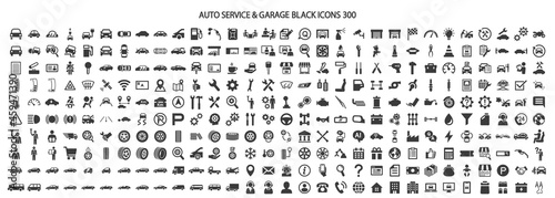 Canvas-taulu Icon set 300 related to auto service and garage