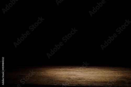 Old wooden floor Vintage atmosphere on dark black background. Fotobehang