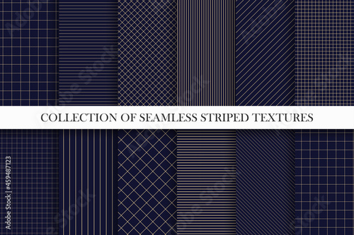 Collection of vector seamless geometric patterns. Dark grid striped backgrounds. Endless unusual linear textures