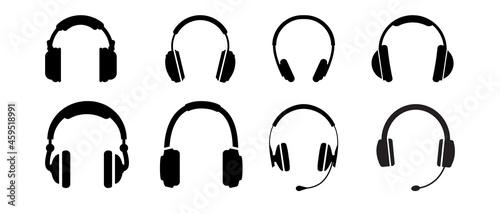 Fotografía Headphones silhouette or music sign vector icons set