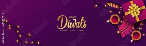 Fotografie, Obraz happy diwali web banner design. vector illustration design.